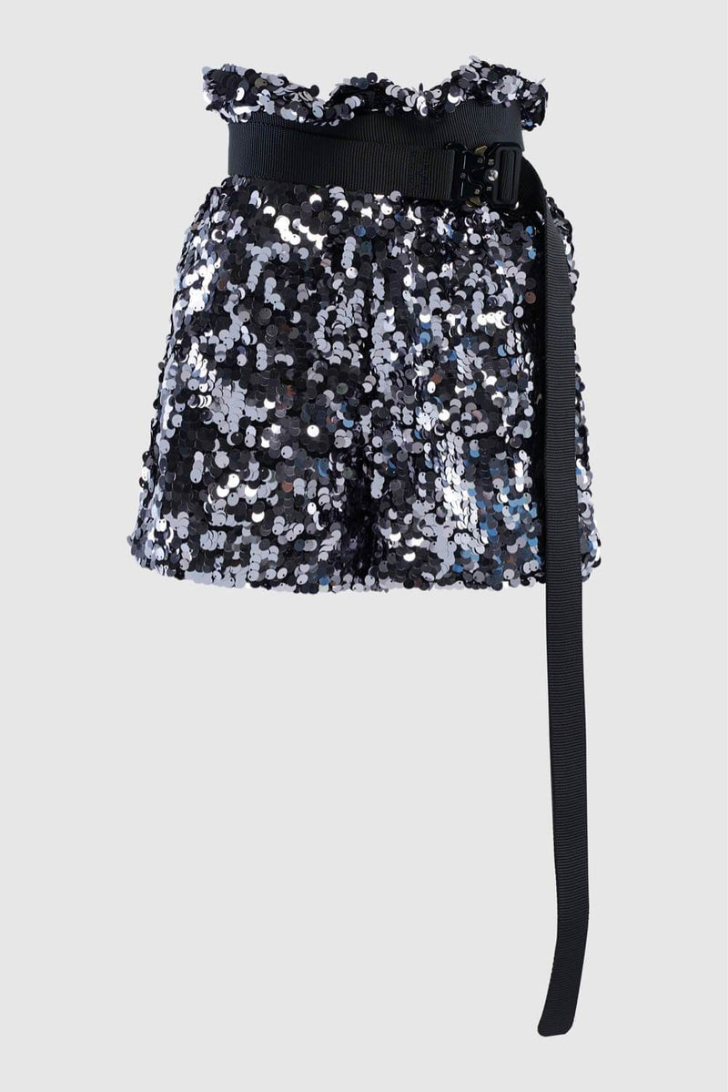SEQUIN SHORTS WITH HARDWARE BELT