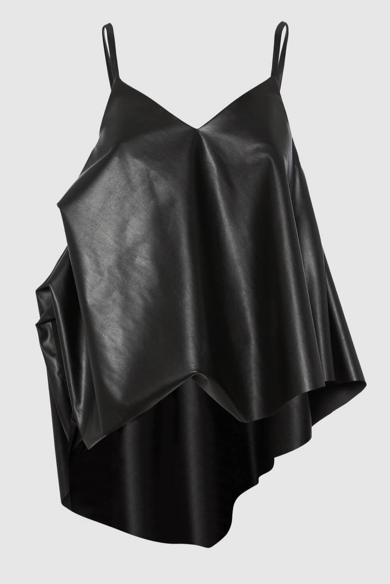 VEGAN LEATHER DRAPED CAMI