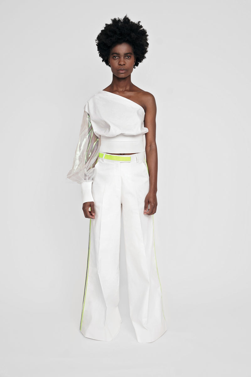 WIDE LEG TWILL TROUSERS W/ NEON SIDE TRIMS
