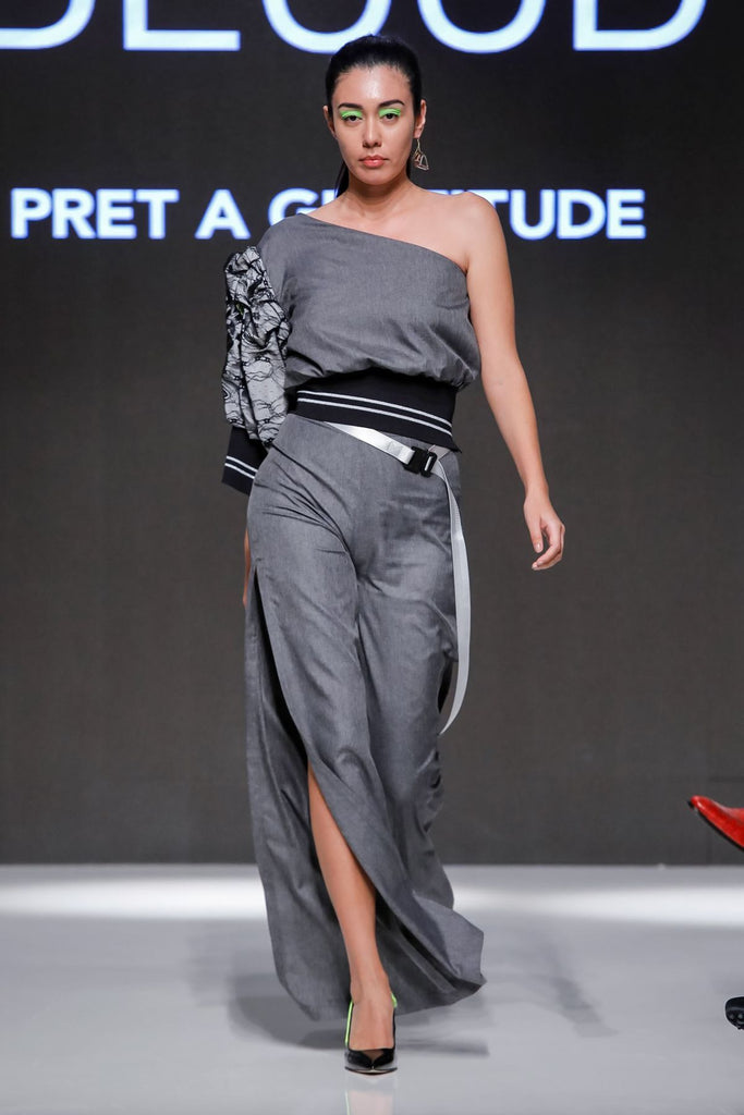 High waisted side slit pants grey