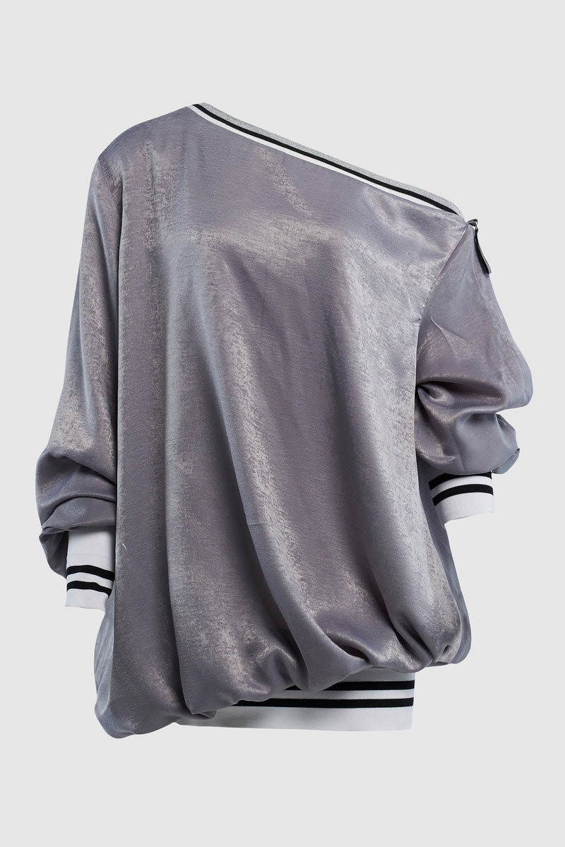 OFF THE SHOULDER SATIN BOMBER SWEATER