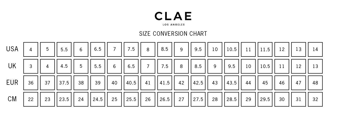 clae sneakers size chart