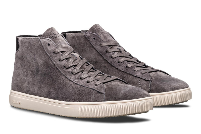 Dark Charcoal Grey Suede mid court sneakers CLAE los angeles Bradley Mid