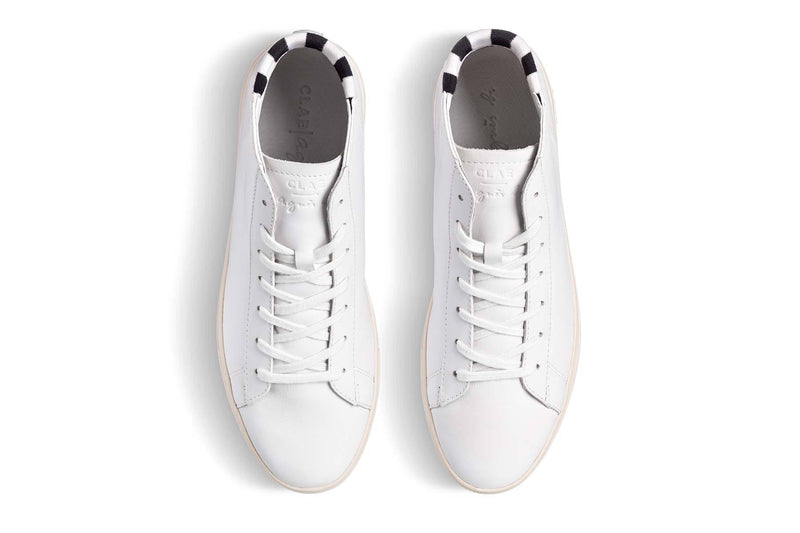 mid court sneakers made of white milled full grain leather CLAE los angeles agnès b