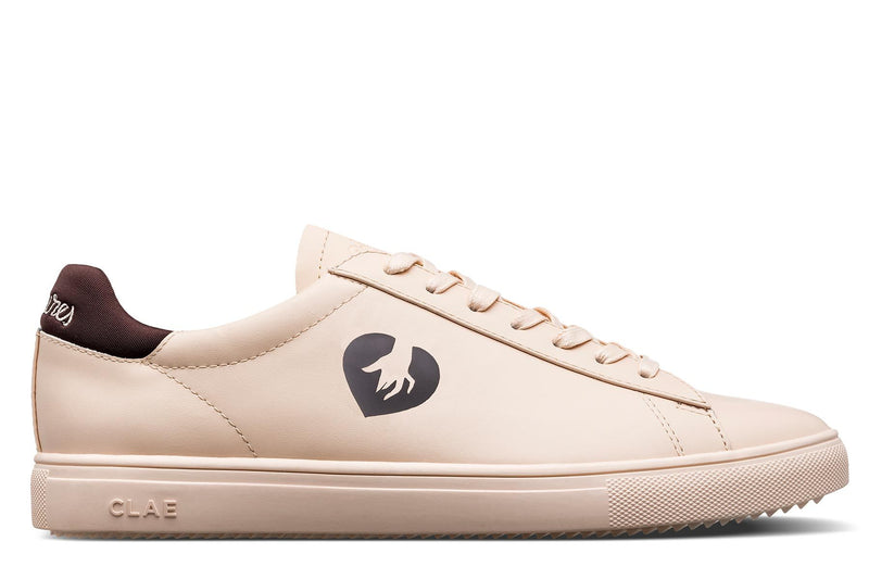 ecru tan full grain leather court sneakers clae los angeles petites luxures collaboration