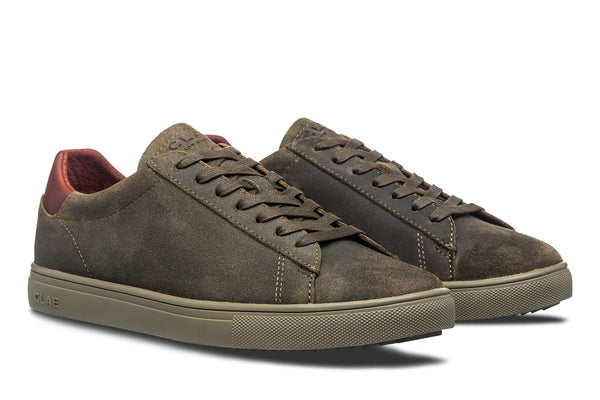 Olive green waxed suede court sneakers clae los angeles