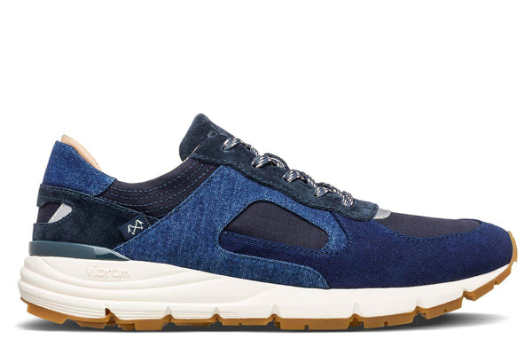 CLAE Bleu de Paname Moleskine Denim collaboration premium retro runner sneakers CLAE Los Angeles Edwin Indigo blue