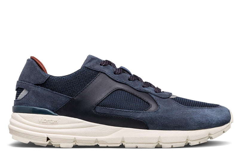 Premium retro Runner deep navy suede sneakers clae Los Angeles Edwin Vibram Megagrip Fuga outsole
