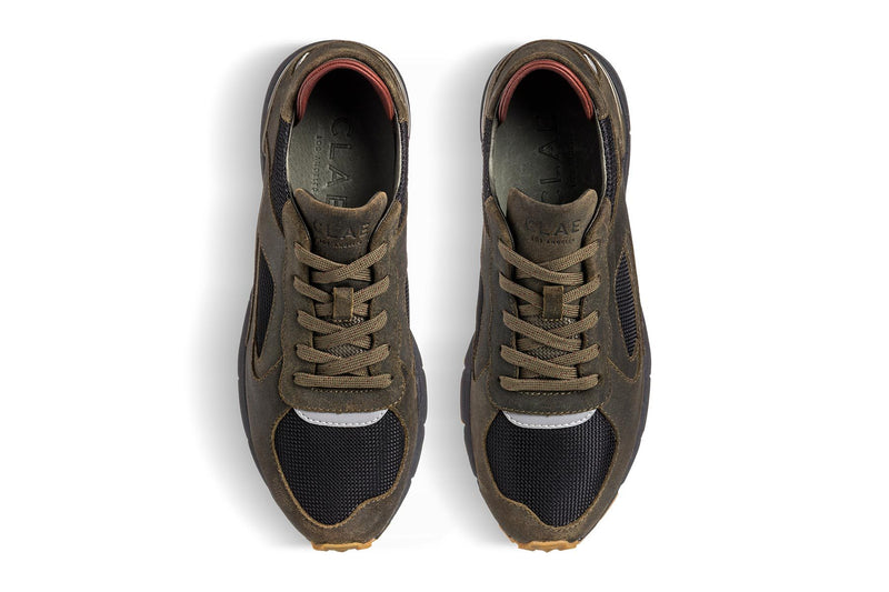 Premium retro Runner hiking green waxed suede sneakers clae Los Angeles Edwin Vibram Megagrip Fuga outsole