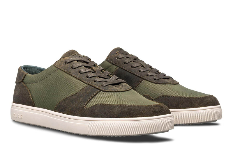 Athletic olive waxed Suede Sneakers Gregory CLAE los angeles