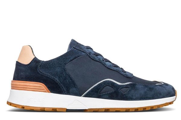 deep navy suede premium retro runner sneakers CLAE los angeles Hayden