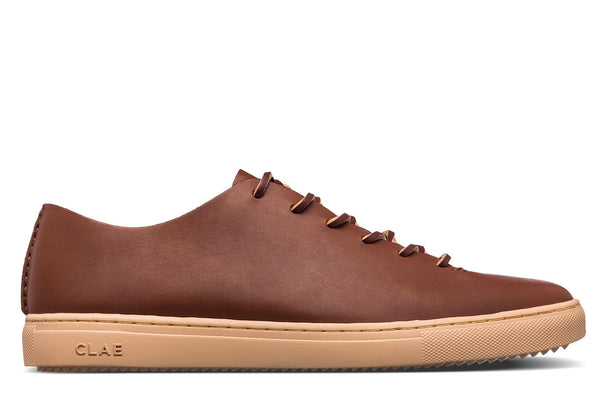 One Piece unlined veg tan leather upper court sneakers CLAE los Angeles