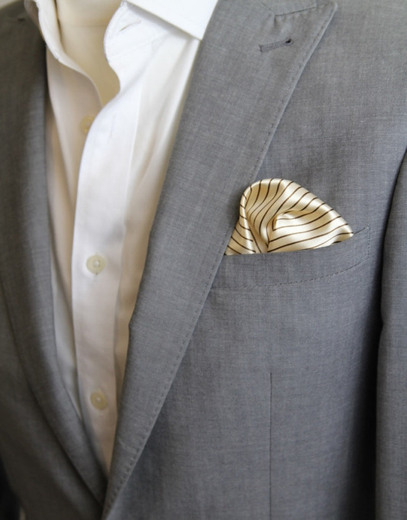 Gold & Brown Stripe Pocket Square