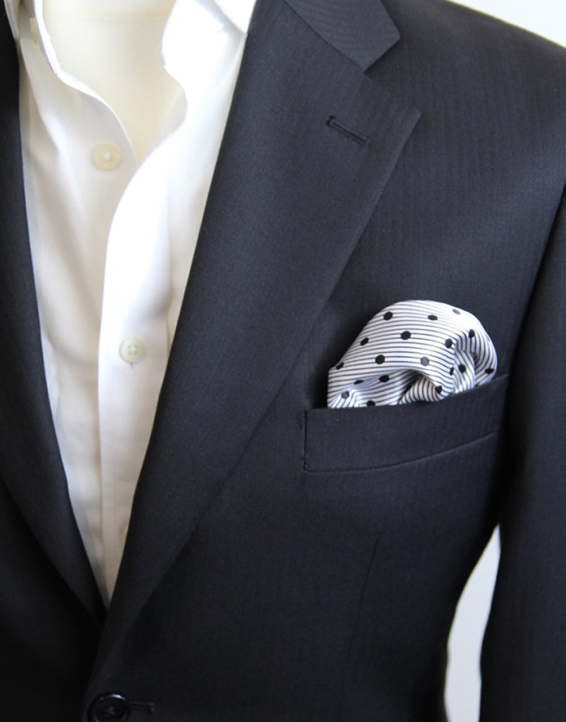 Grey Polka Dot Stripe Pocket Square