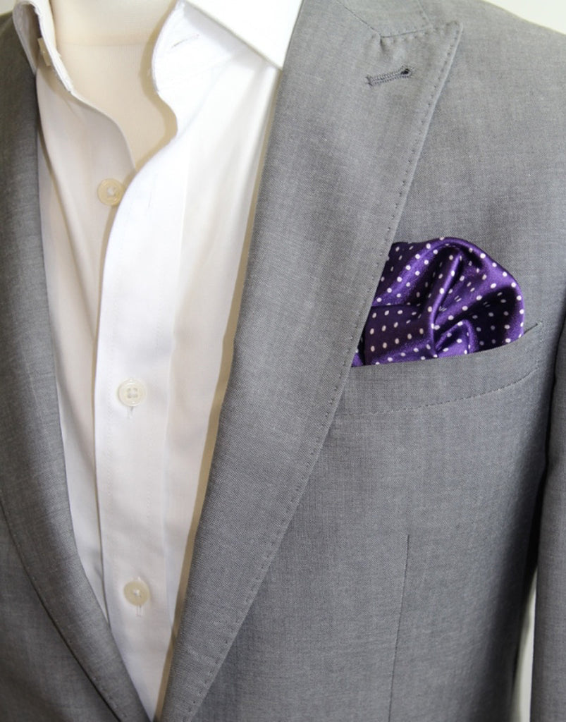 Purple & White Polka Dot Pocket Square