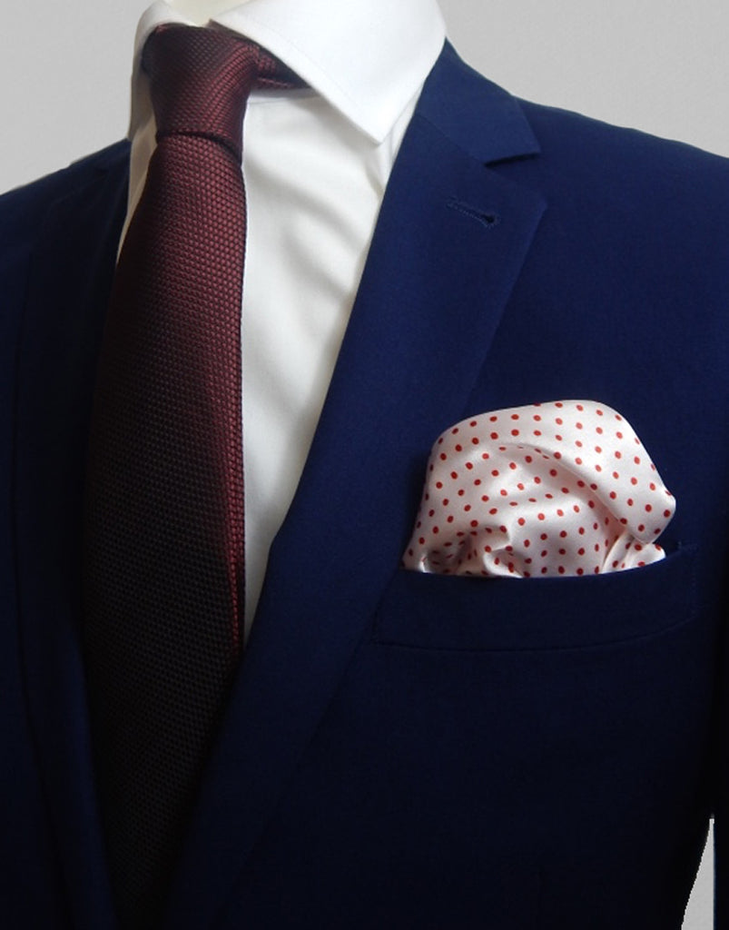 White & Red Polka Dot Pocket Square
