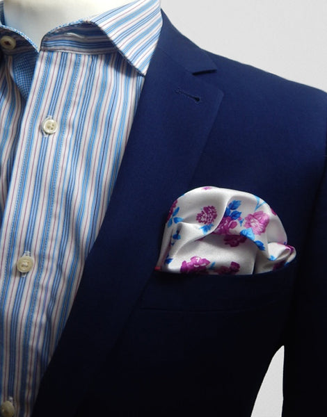 Pink & Blue Floral Pocket Square