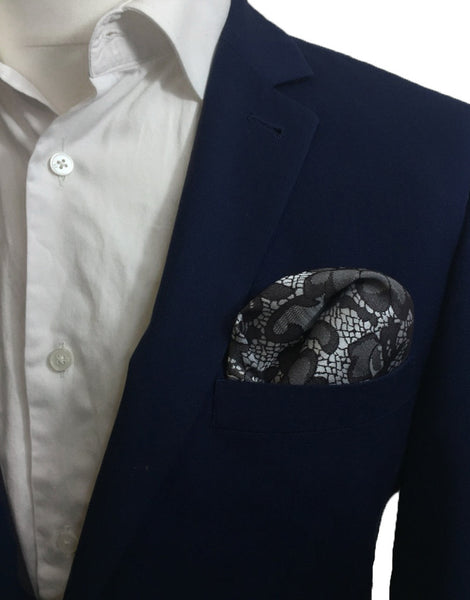 Dusky Grey Floral Pocket Square