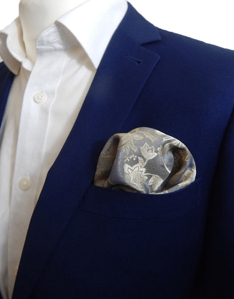 Gold & Silver Floral Pocket Square