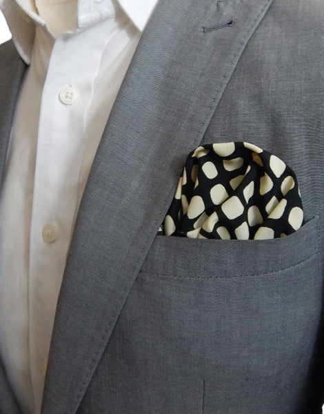 Black & Yellow Oval Pocket Square