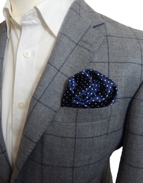 Dark Blue Polka Dot Pocket Square