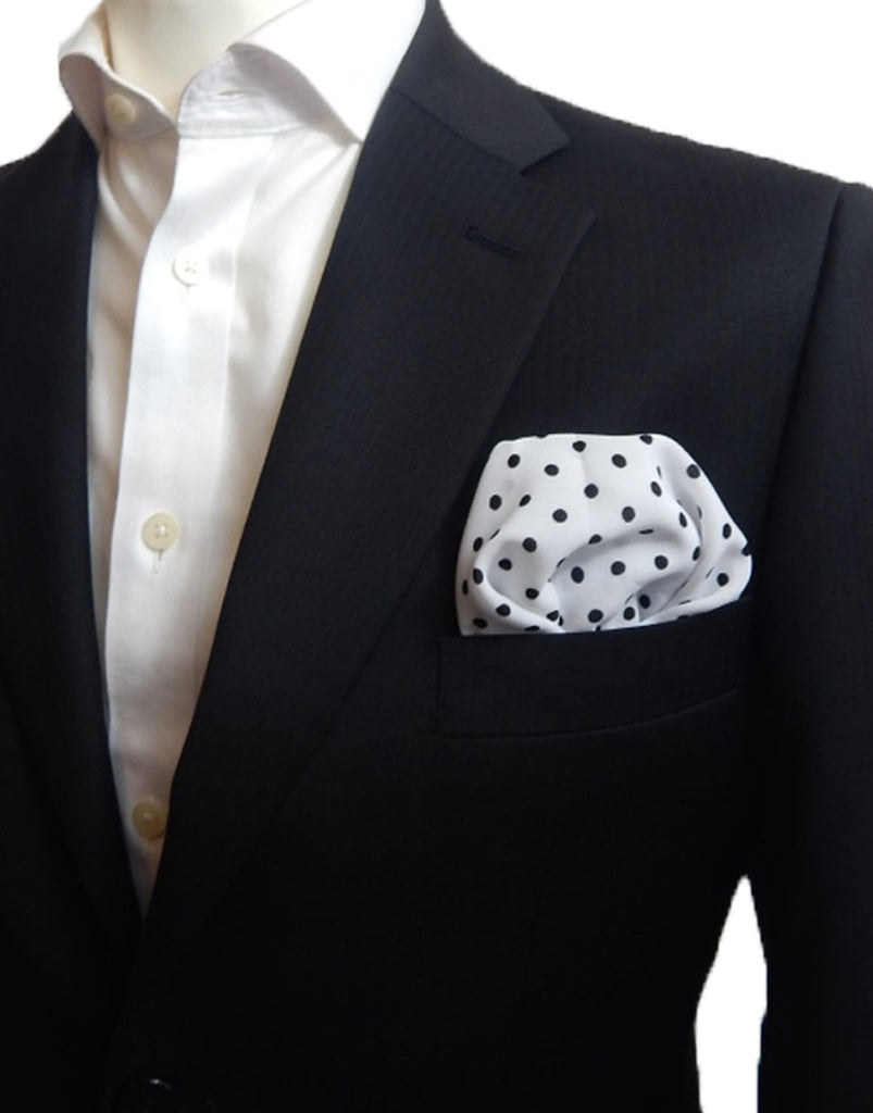White & Black Polka Dot Pocket Square