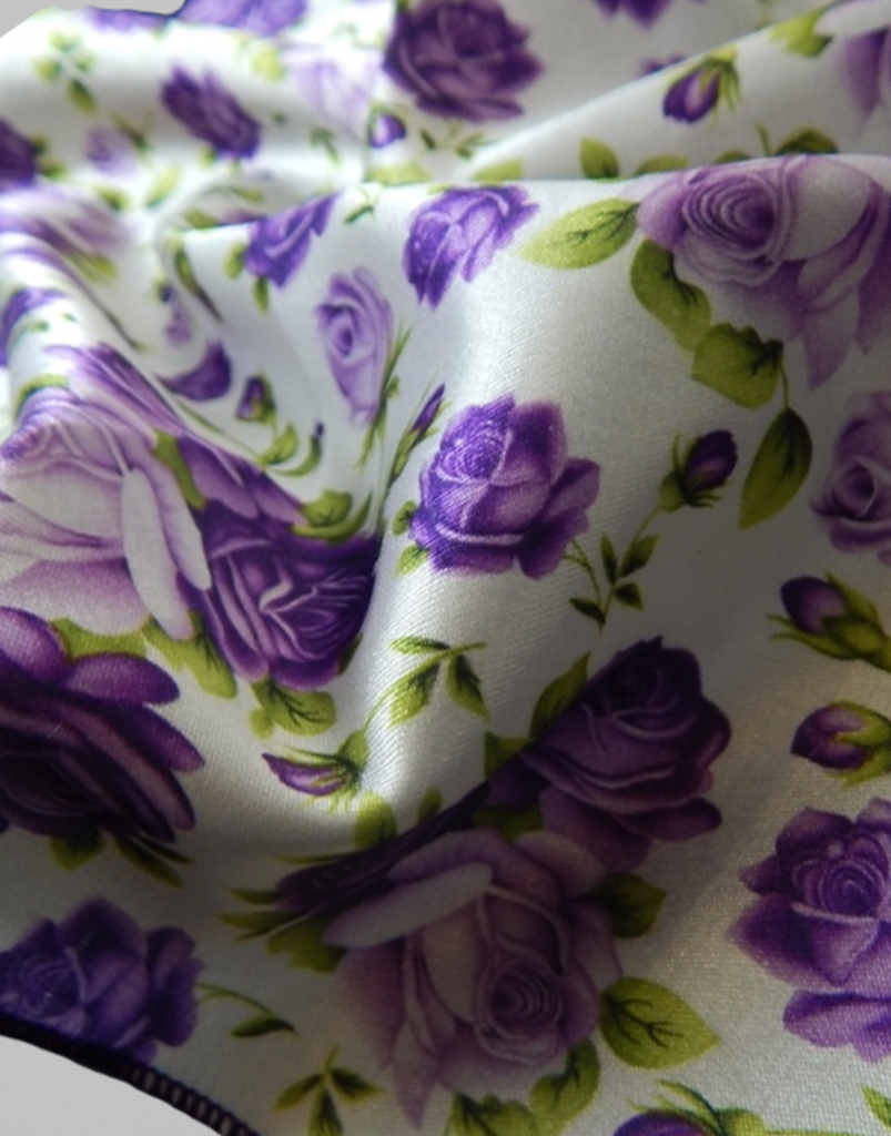Purple & Green Floral Pocket Square