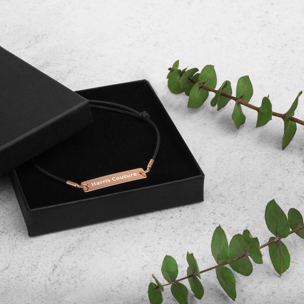 Personalise Rose Gold Bar String Bracelet