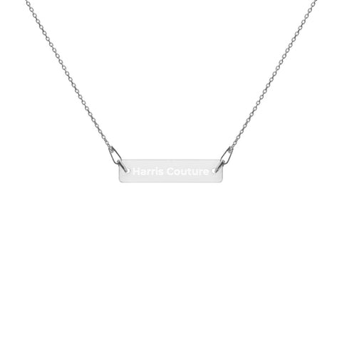 Personalise White Rhodium Bar Chain Necklace
