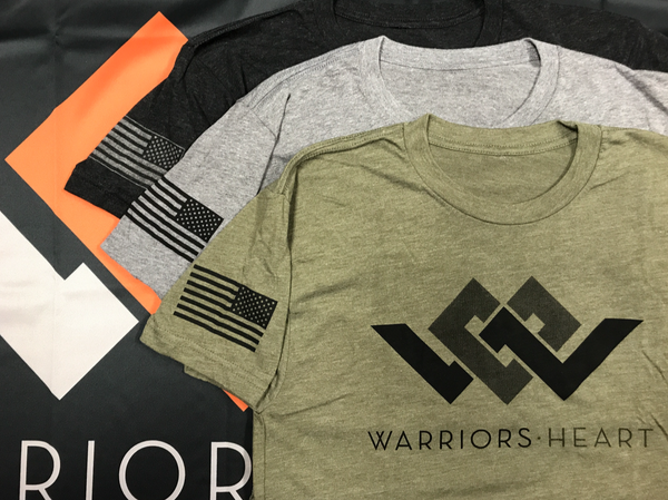 warriors heart tri-blend shirts in black gray and green
