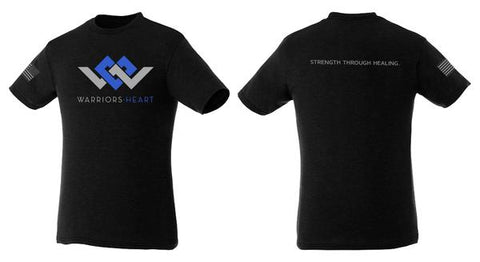 Warriors Heart Tri-Blend Shirt - Black w/Blue