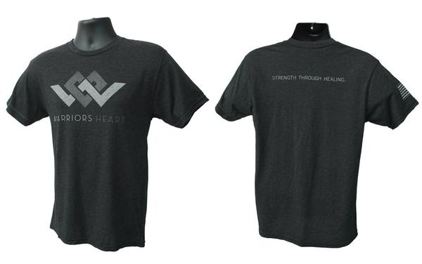 warriors heart tri-blend t-shirt black front back