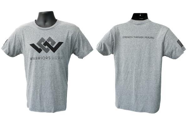 warriors heart tri-blend t-shirt gray front back