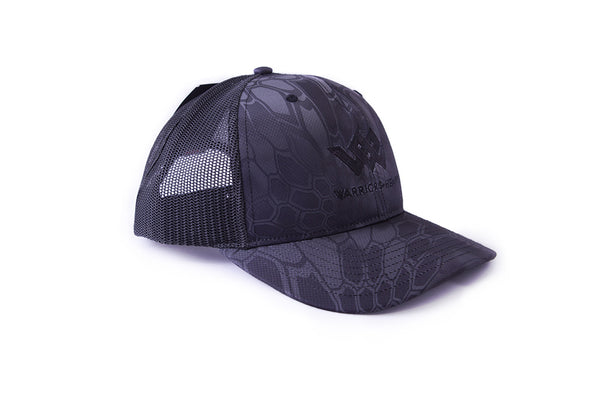 warriors heart structured trucker hat black camo angle