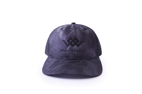 warriors heart structured trucker hat black camo