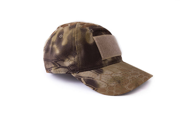 tactical hat with patches in camo color angle
