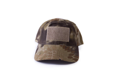tactical hat with patches in camo color