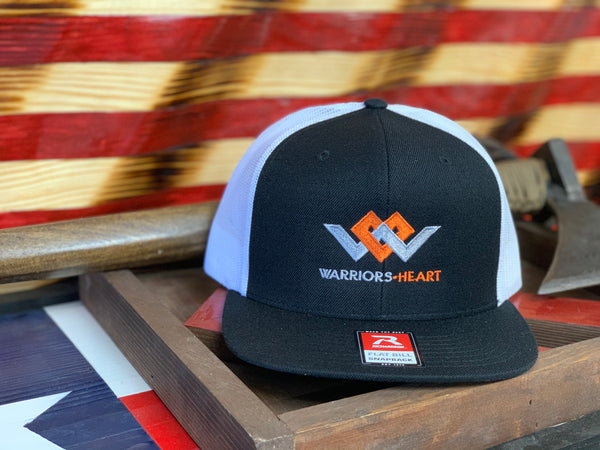 Warriors Heart Structured Flat Bill Hat - Black & White