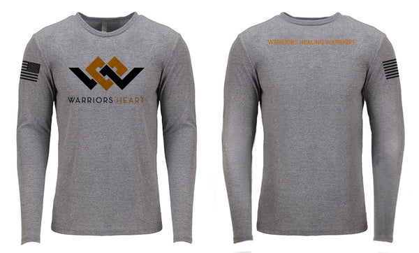 long sleeve gray shirt with warriors heart logo
