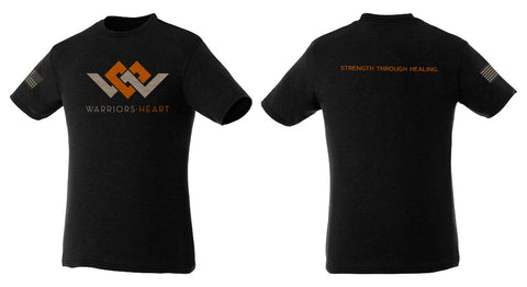 warriors heart triblend shirt in orange heather and black color
