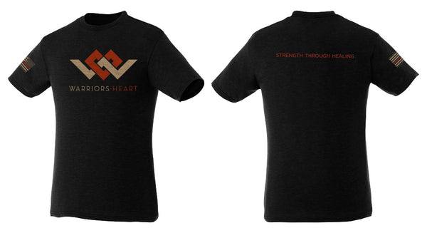 warriors heart triblend shirt in red brown and black color