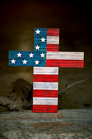 warriors heart cross with united states flag design