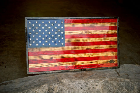 warriors heart united states flag in frame