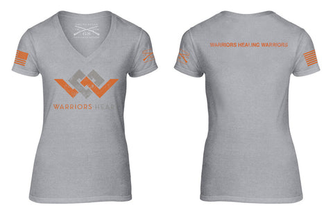 grunt style warriors heart vneck t-shirt in gray and orange