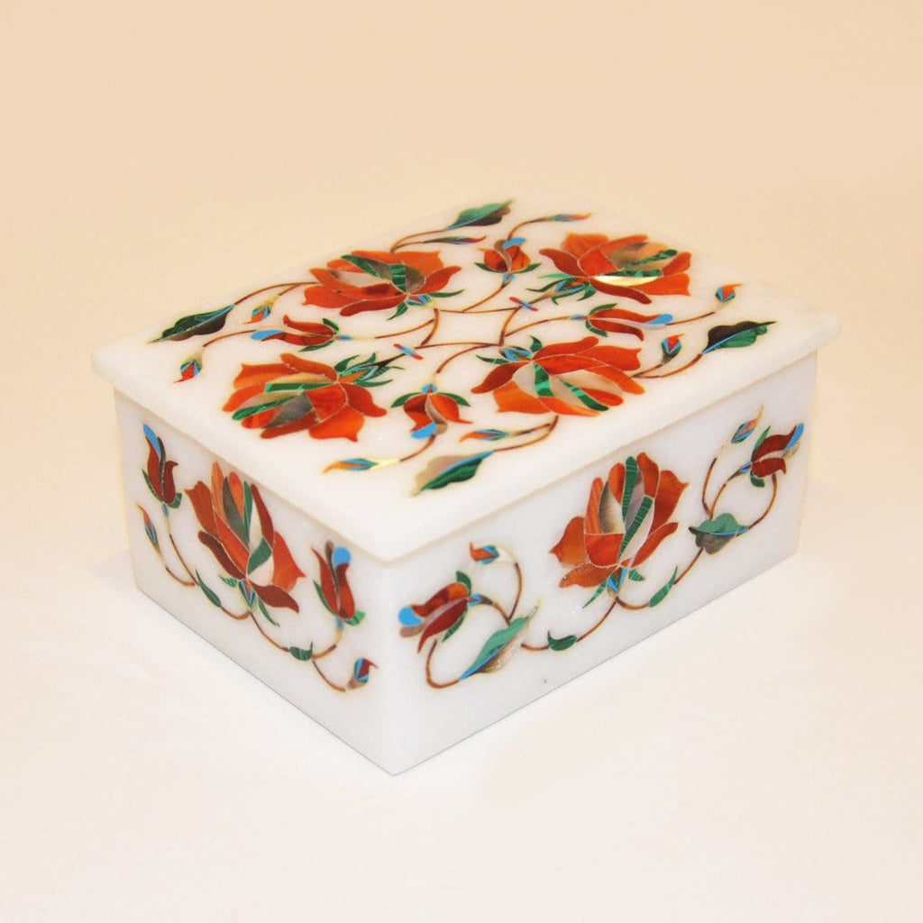 "Hand made 4""x 3"" Marble Box by kaarigar made in India - 3"