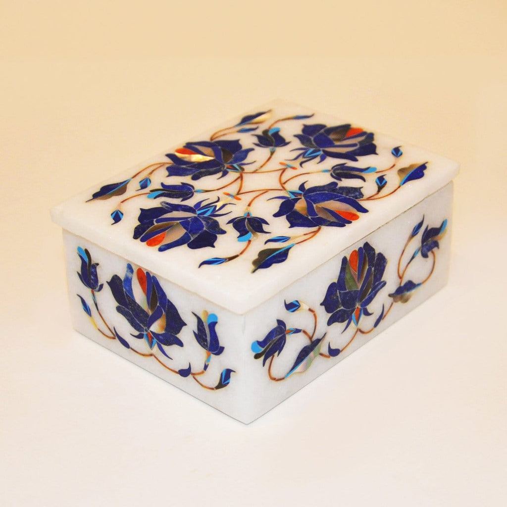 "Hand made 4""x 3"" Marble Box by kaarigar made in India - 2"