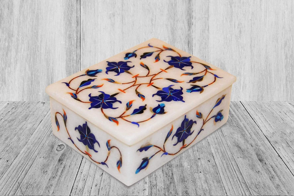 "4""x 3""  Marble Inlay Box - Kaarigar Handicrafts Inc."