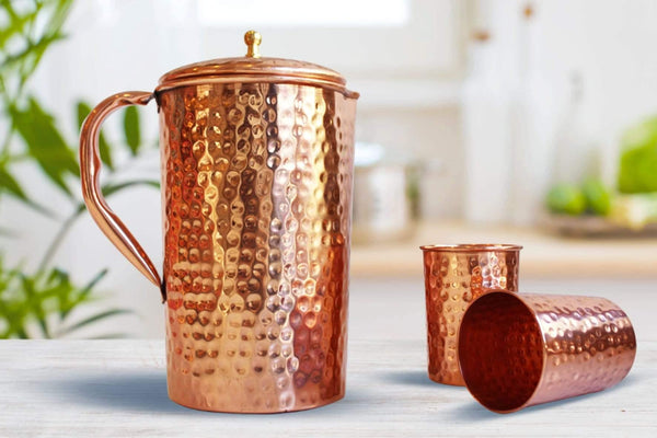 Copper Water Pitcher & 2 Cups