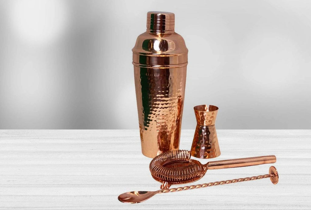 Handmade Copper Cocktail Set - Kaarigar Handicrafts Inc.