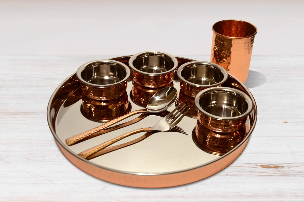 Copper Thali Set - Kaarigar Handicrafts Inc.